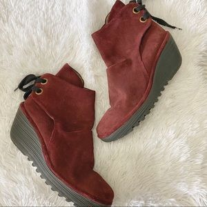 Fly London yama red suede booties 41